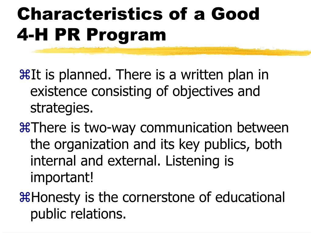 Characteristics of a Good 4-H PR Program
