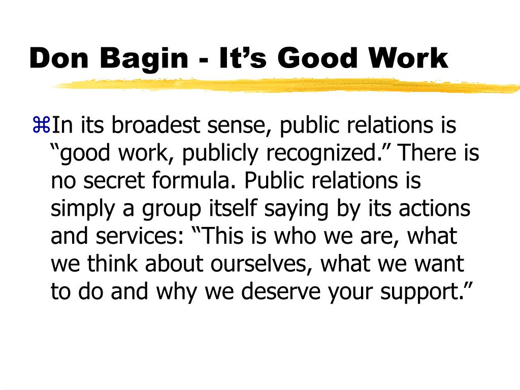 Don Bagin - It's Good Work