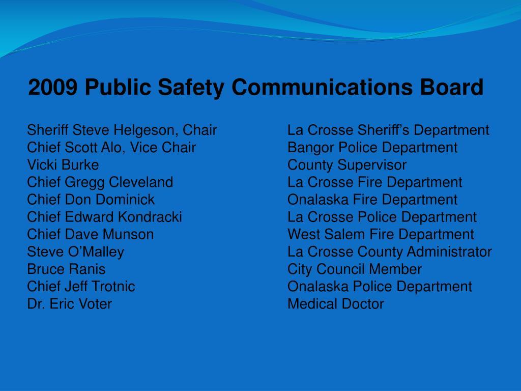 2009 Public Safety Communications Board