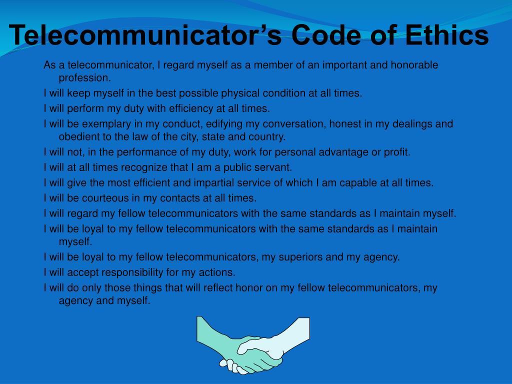 Telecommunicator's Code of Ethics