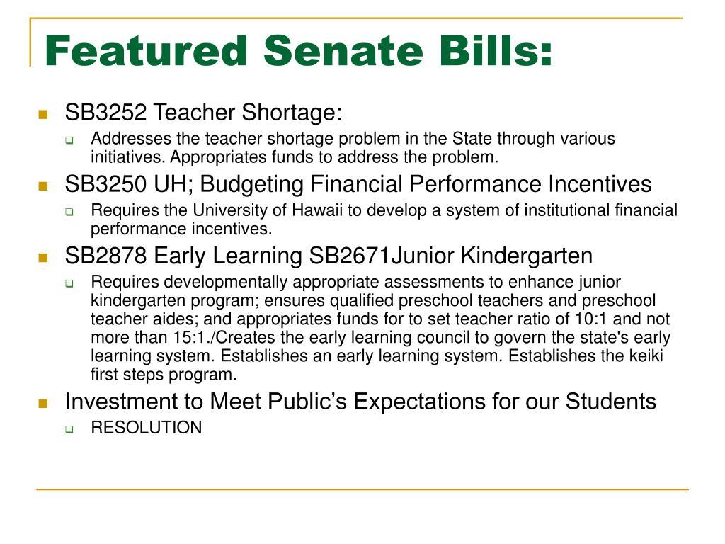 Featured Senate Bills:
