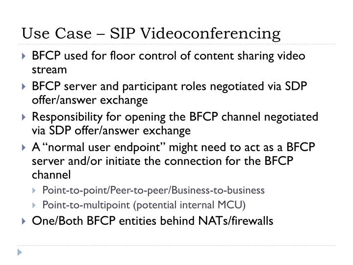 Use case sip videoconferencing