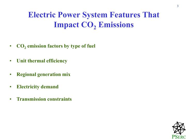 Electric power system features that impact co 2 emissions