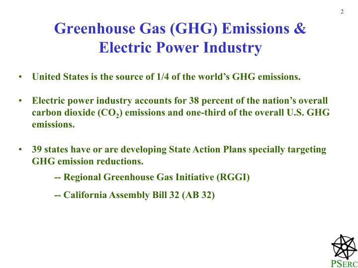 Greenhouse gas ghg emissions electric power industry