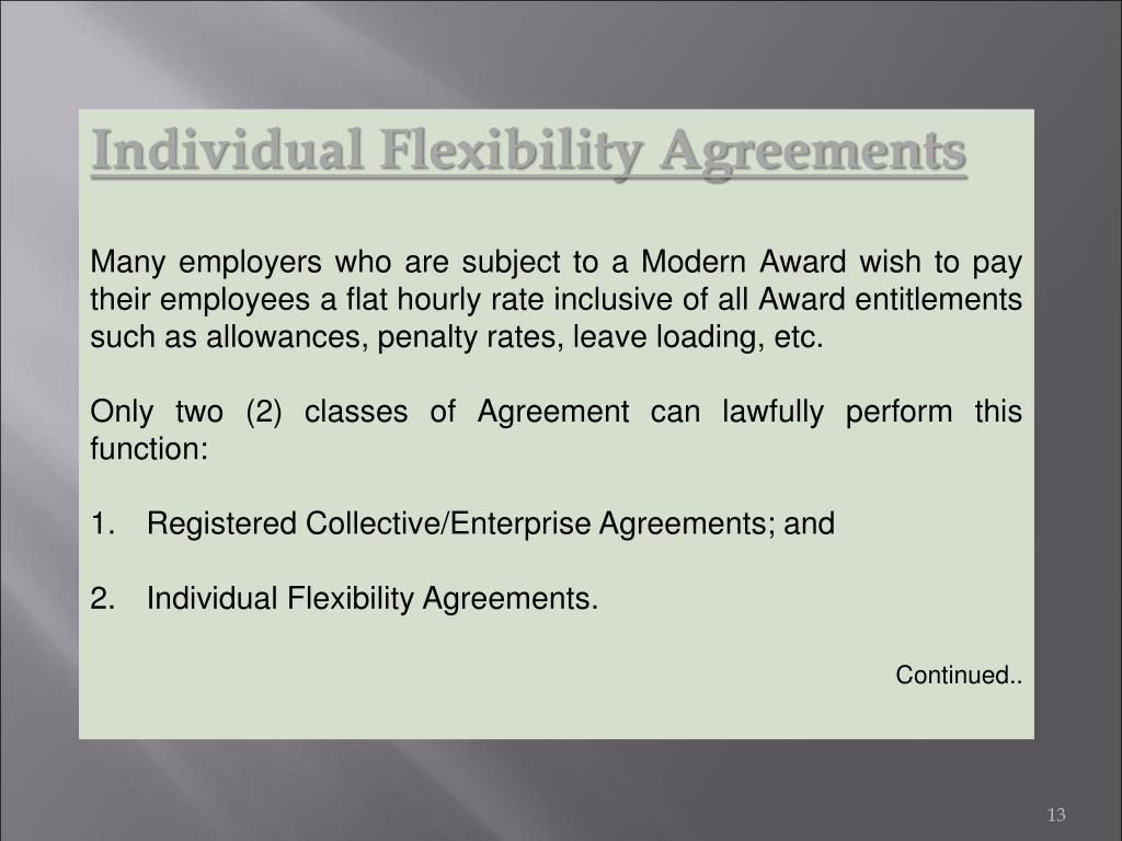 Individual Flexibility Agreements