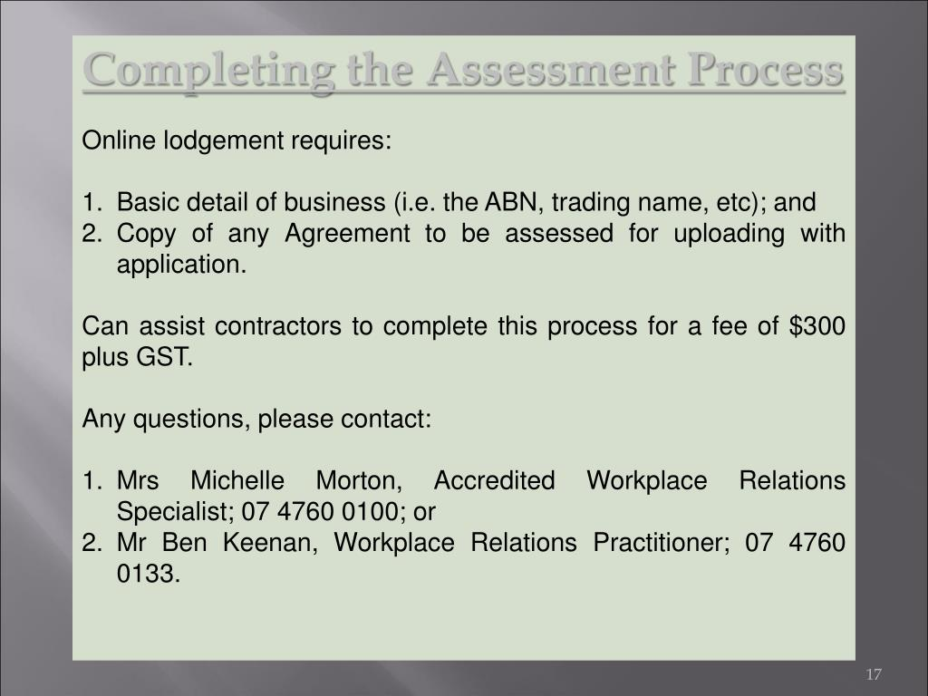 Completing the Assessment Process