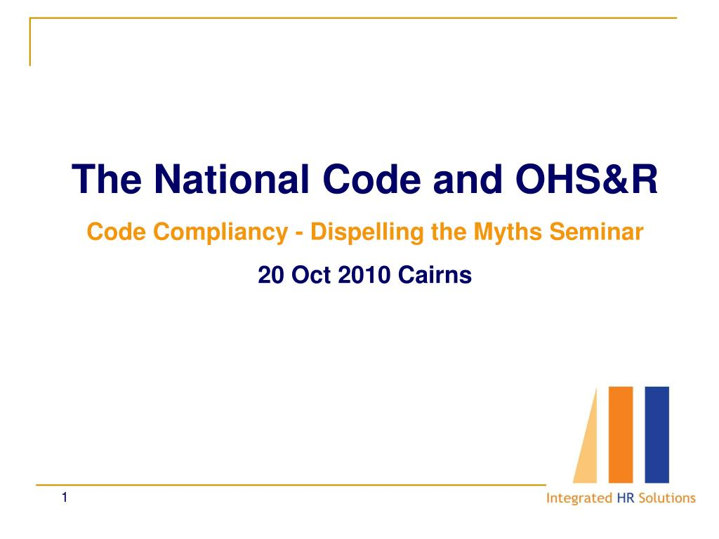 The National Code and OHS&R