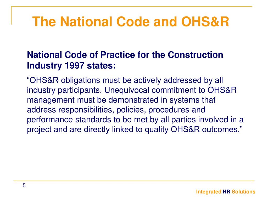 National Code of Practice for the Construction Industry 1997 states: