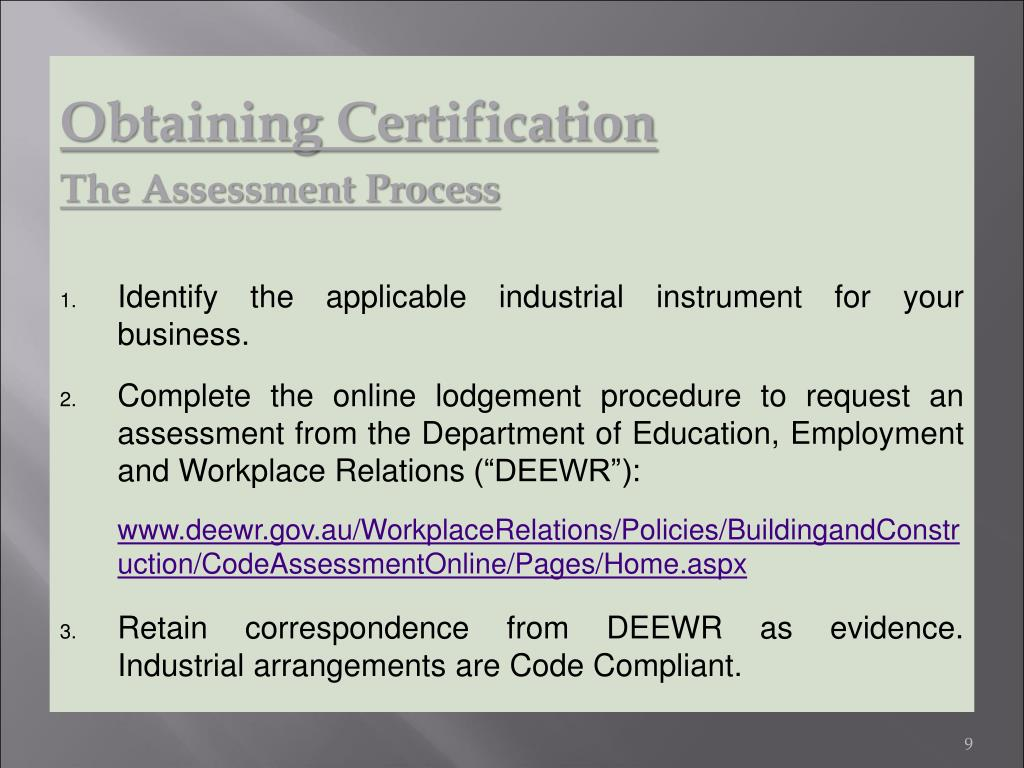 Obtaining Certification