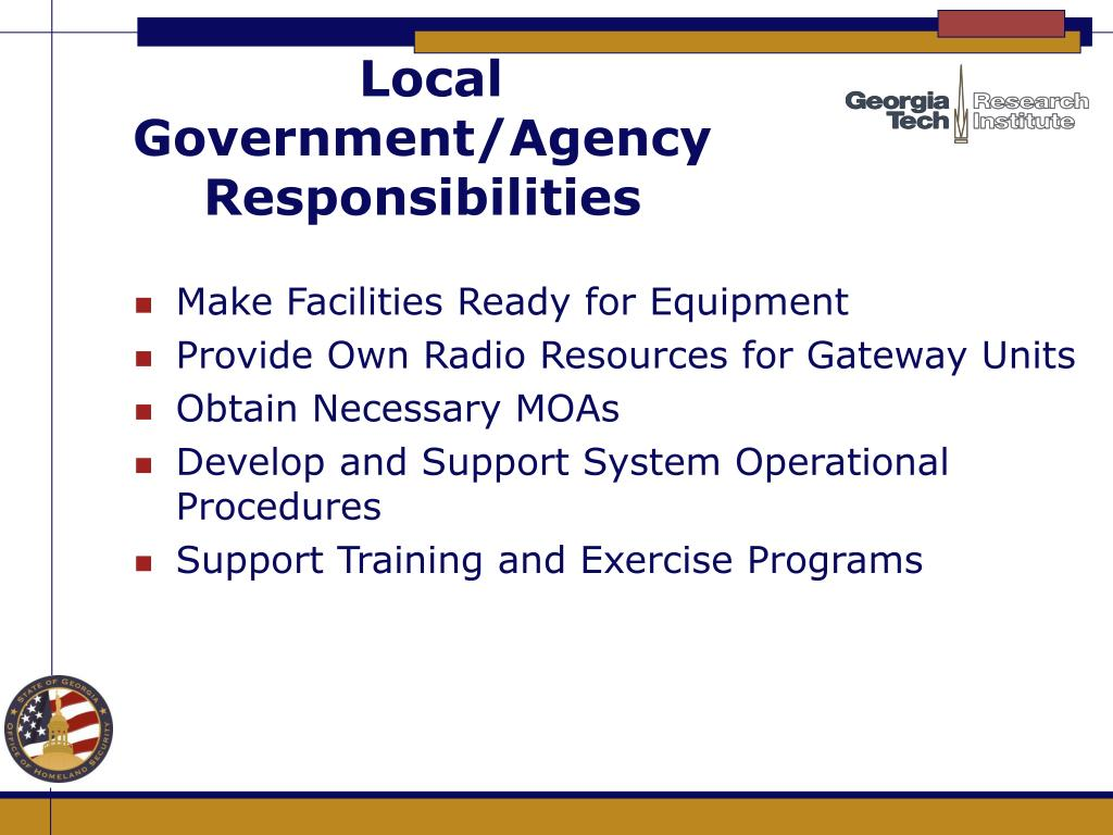 Local Government/Agency Responsibilities