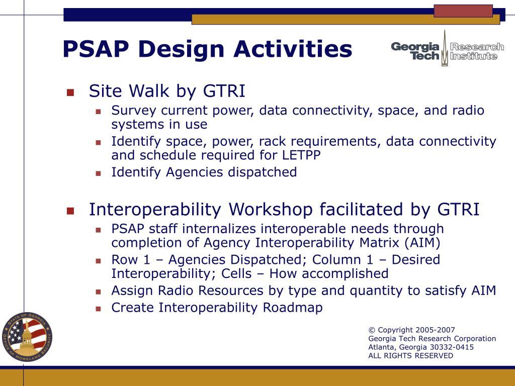 PSAP Design Activities