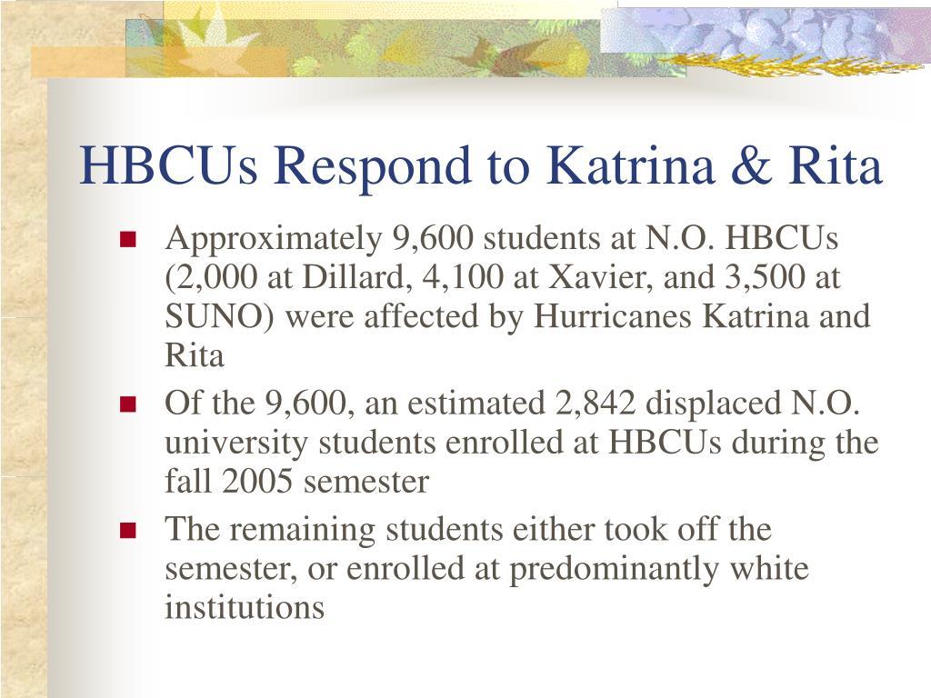HBCUs Respond to Katrina & Rita