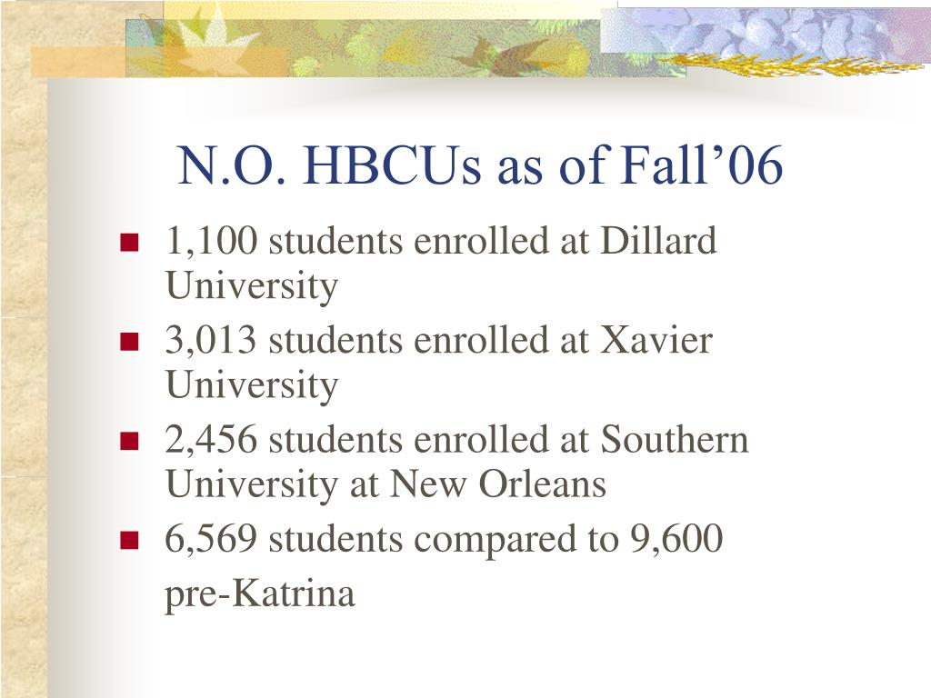 N.O. HBCUs as of Fall'06