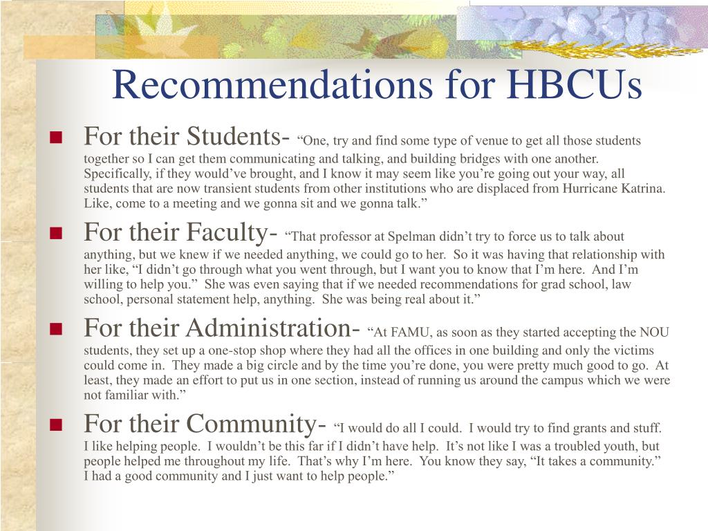 Recommendations for HBCUs