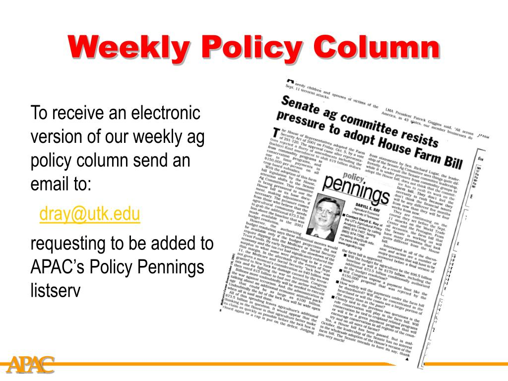 Weekly Policy Column
