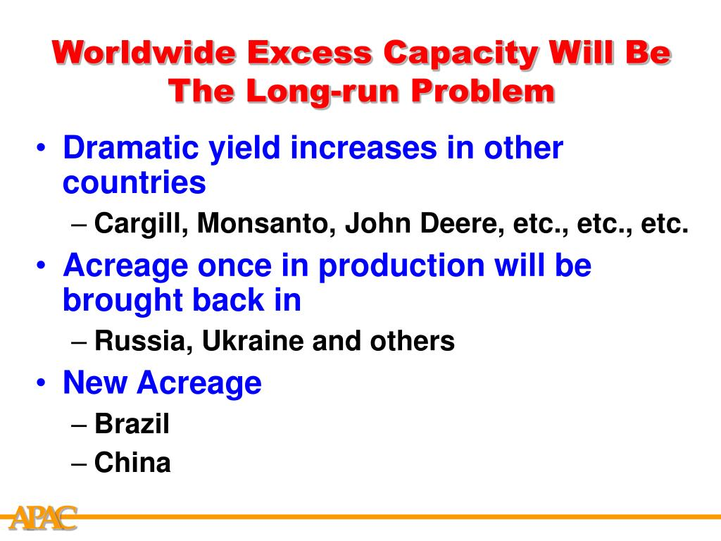 Worldwide Excess Capacity Will Be The Long-run Problem