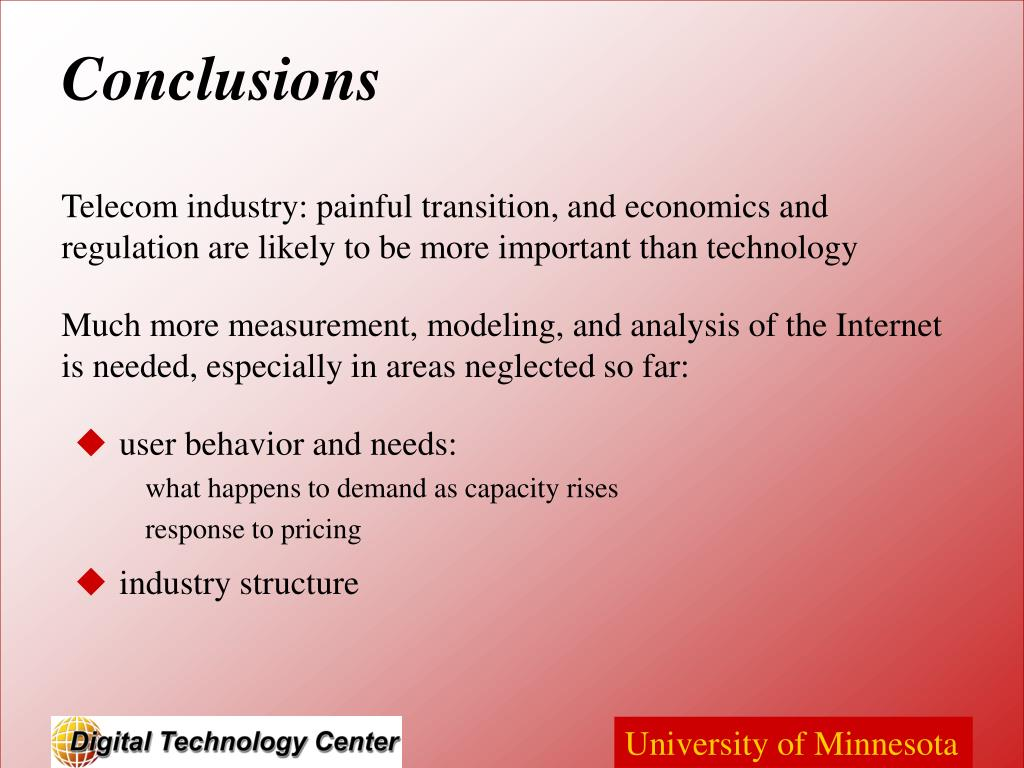 Telecom industry: painful transition, and economics and regulation are likely to be more important than technology