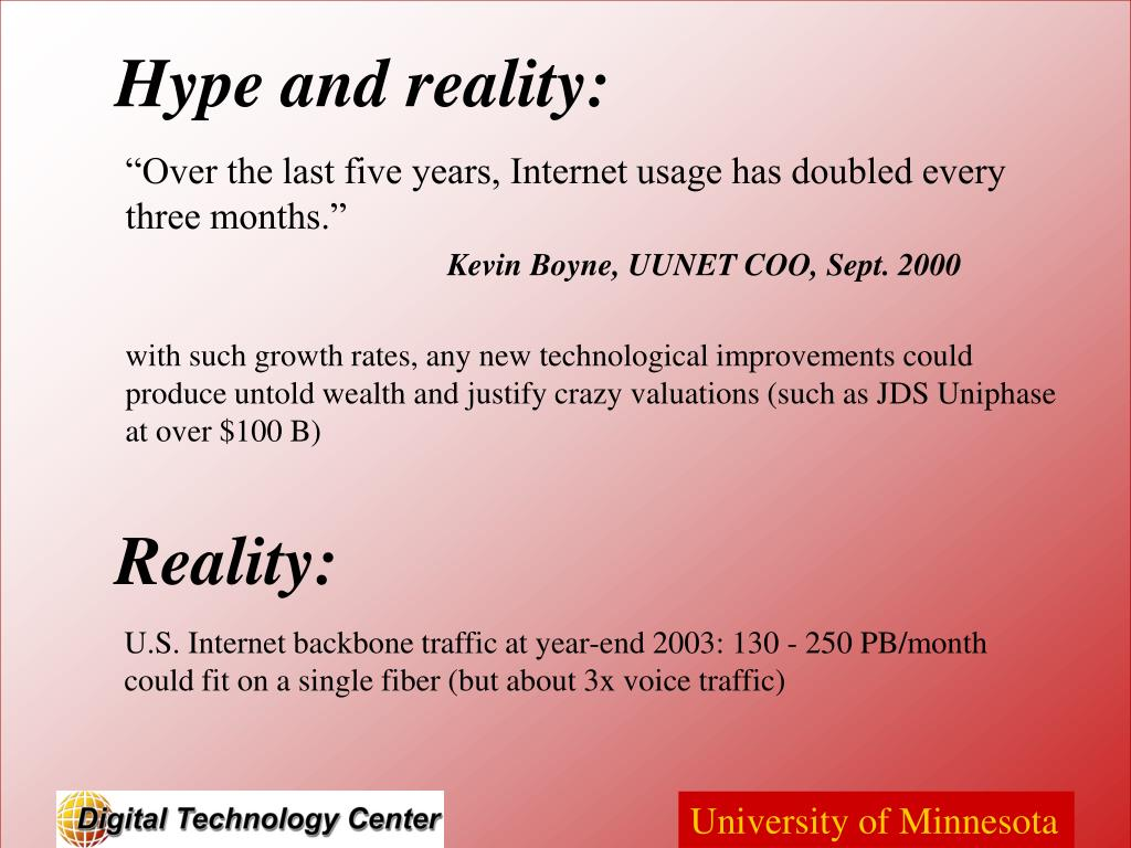 """""""Over the last five years, Internet usage has doubled every three months."""""""