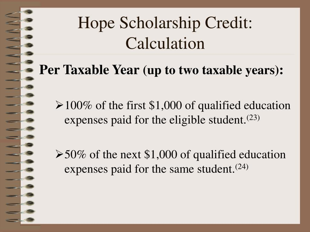 Hope Scholarship Credit:          Calculation