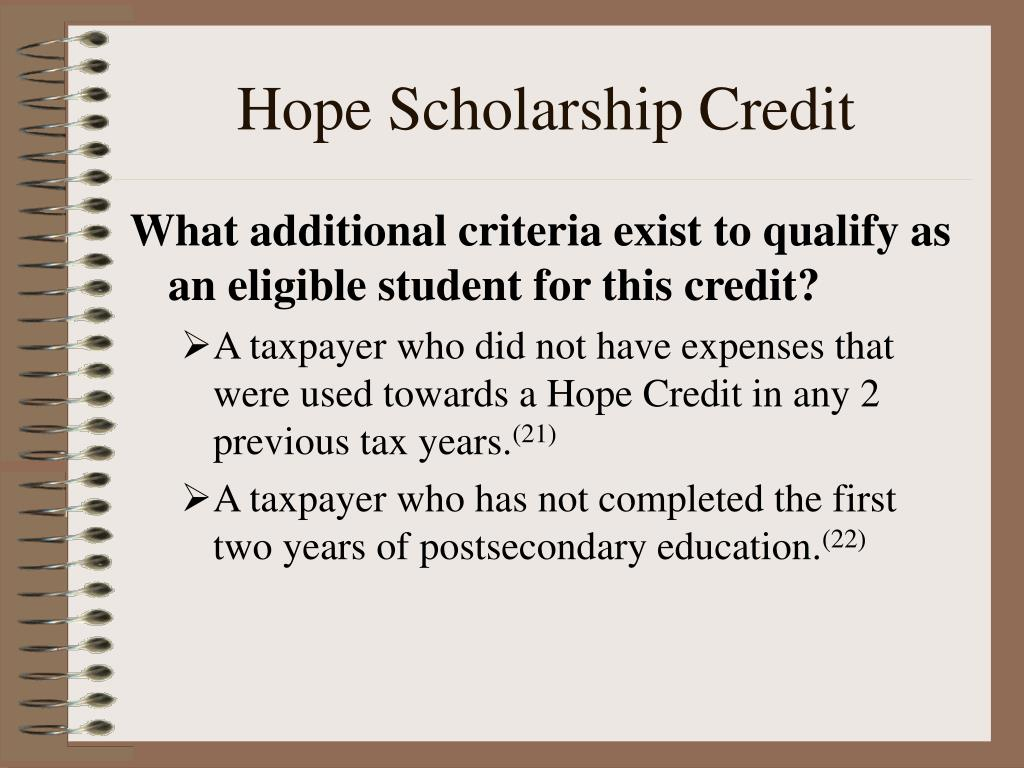 Hope Scholarship Credit