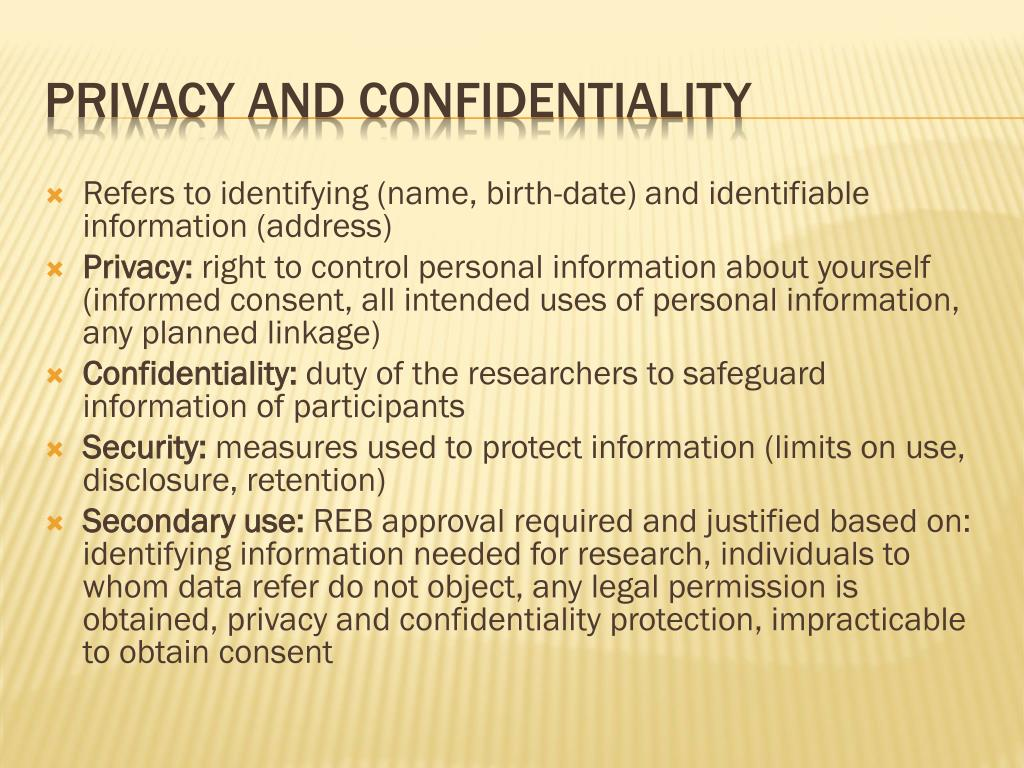 Refers to identifying (name, birth-date) and identifiable information (address)