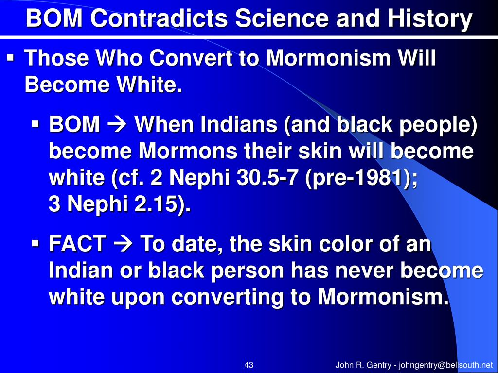 BOM Contradicts Science and History