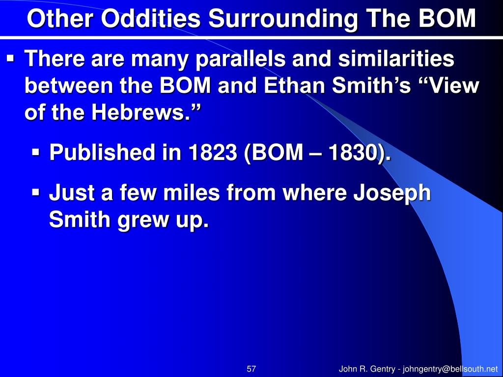 Other Oddities Surrounding The BOM
