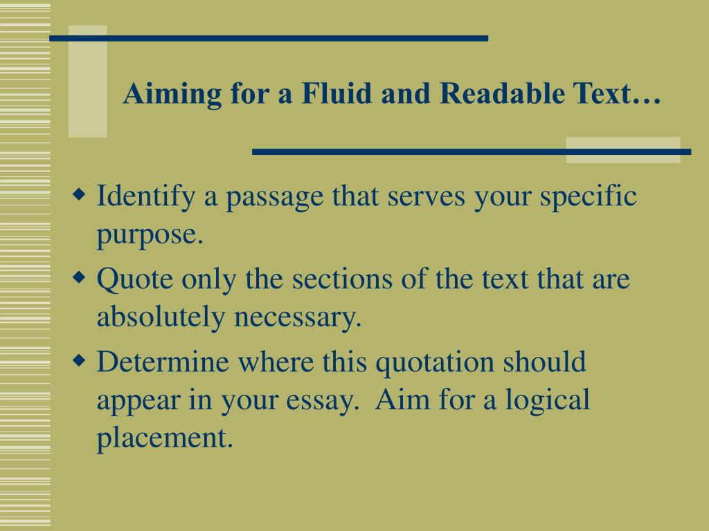 Aiming for a Fluid and Readable Text…