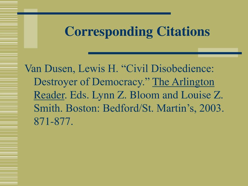 Corresponding Citations