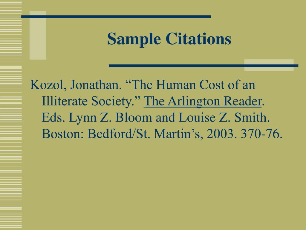Sample Citations