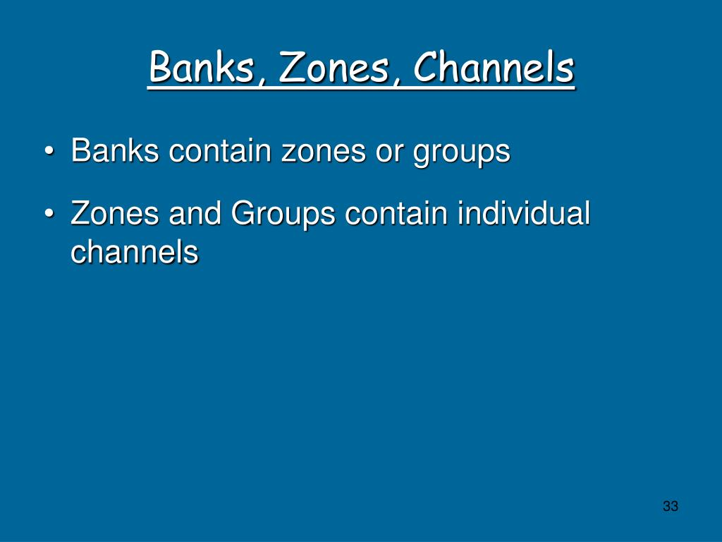 Banks, Zones, Channels