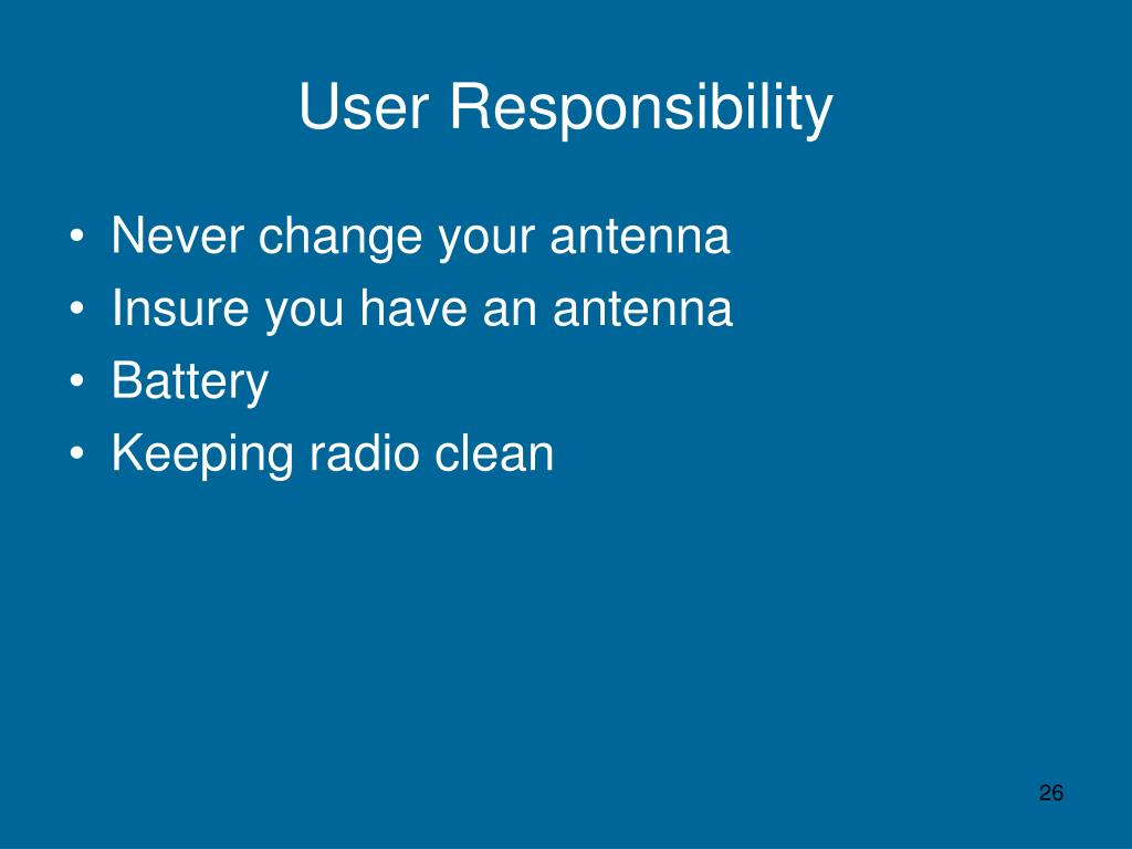 User Responsibility