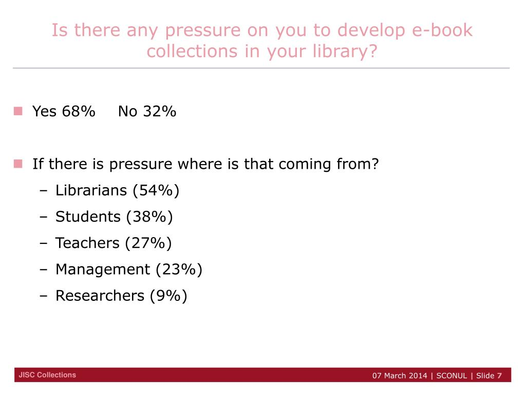 Is there any pressure on you to develop e-book