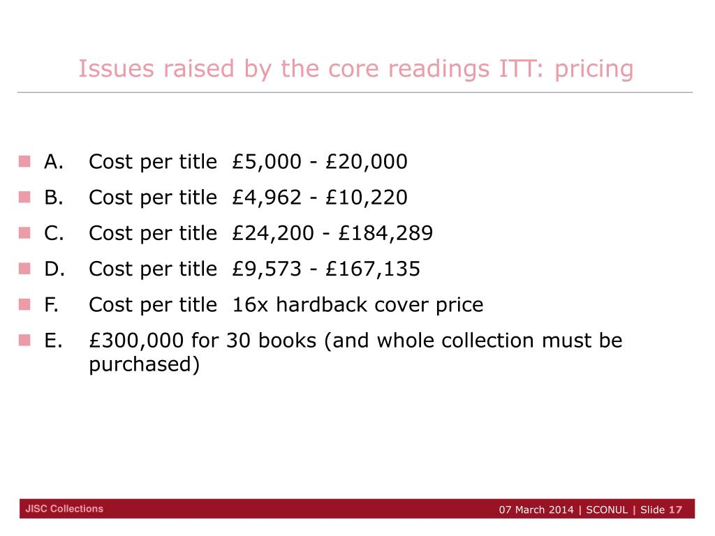 Issues raised by the core readings ITT: pricing