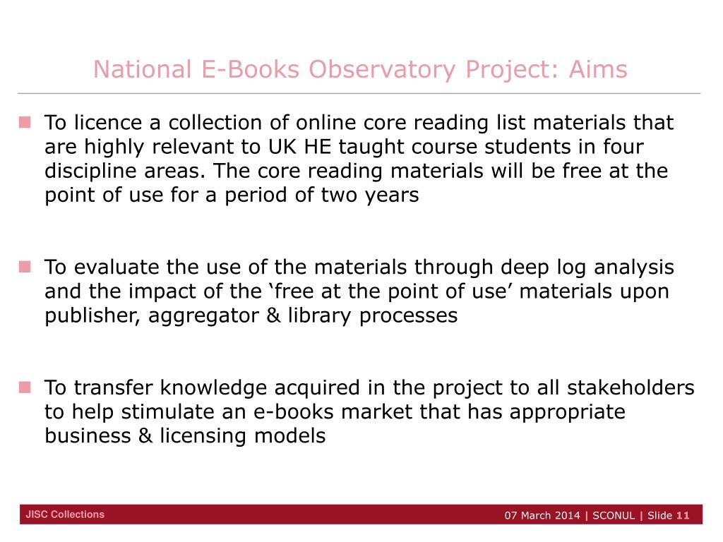 National E-Books Observatory Project: Aims