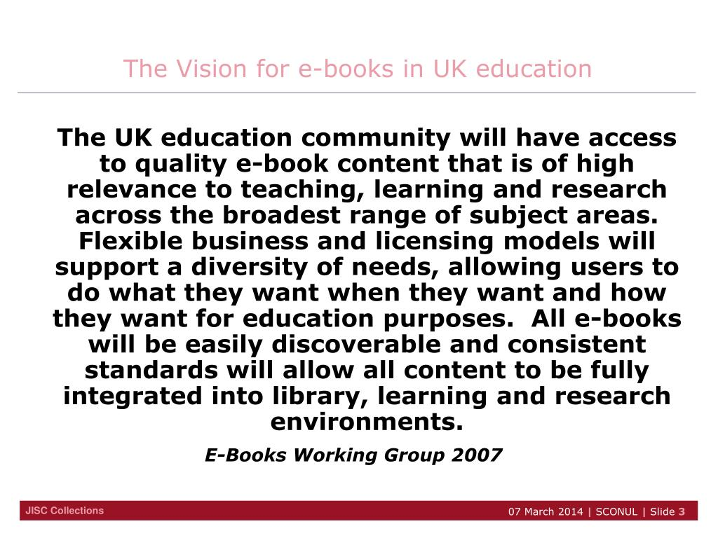 The Vision for e-books in UK education