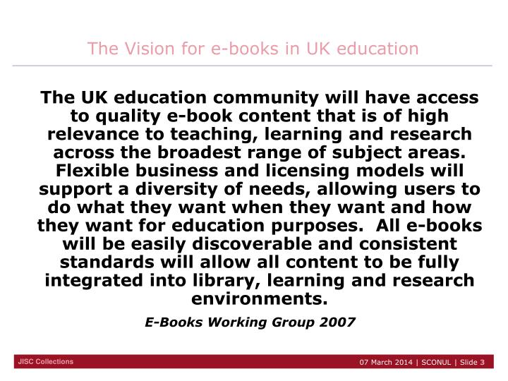 The vision for e books in uk education