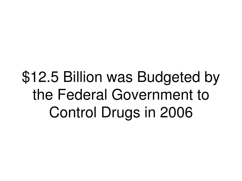 $12.5 Billion was Budgeted by the Federal Government to Control Drugs in 2006