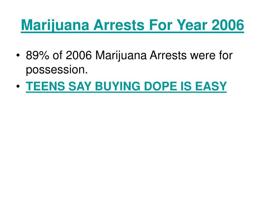 Marijuana Arrests For Year 2006