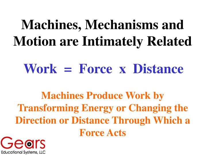 Machines, Mechanisms and Motion are Intimately Related