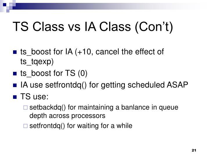 TS Class vs IA Class (Con't)