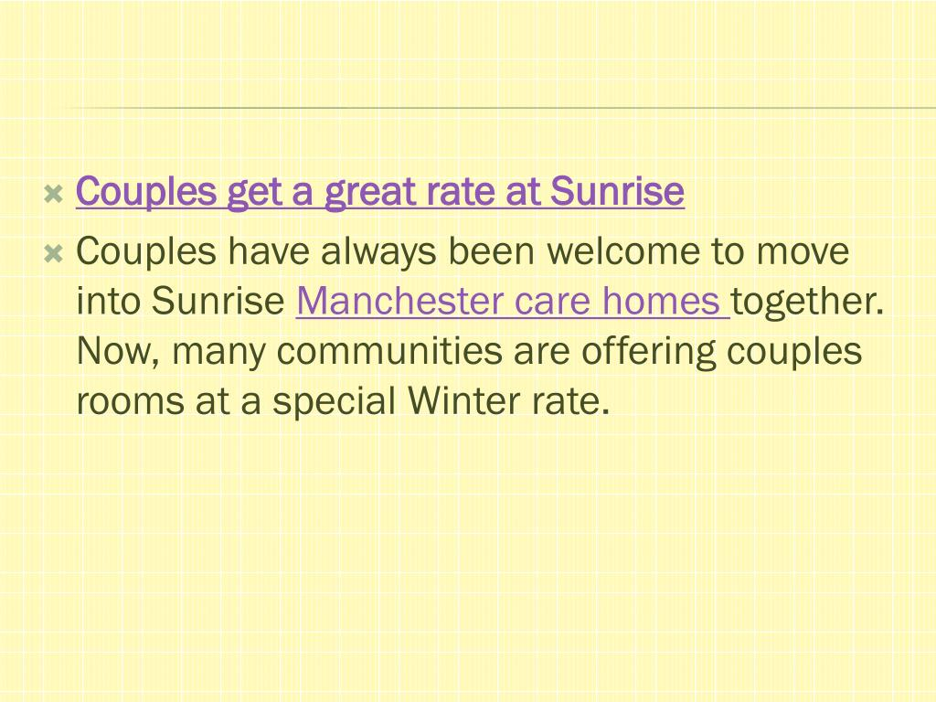 Couples get a great rate at Sunrise