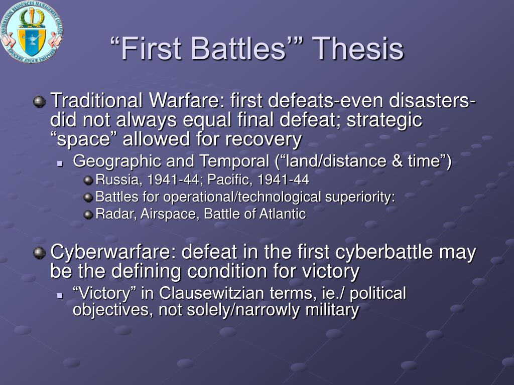 """""""First Battles'"""" Thesis"""