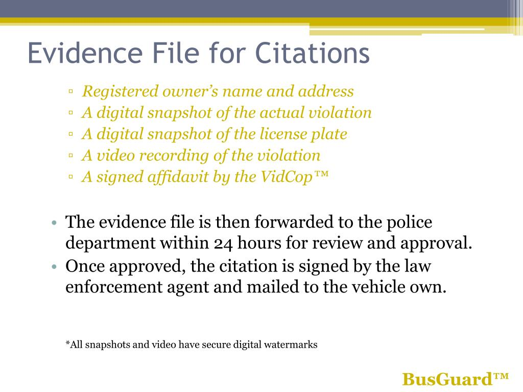 Evidence File for Citations