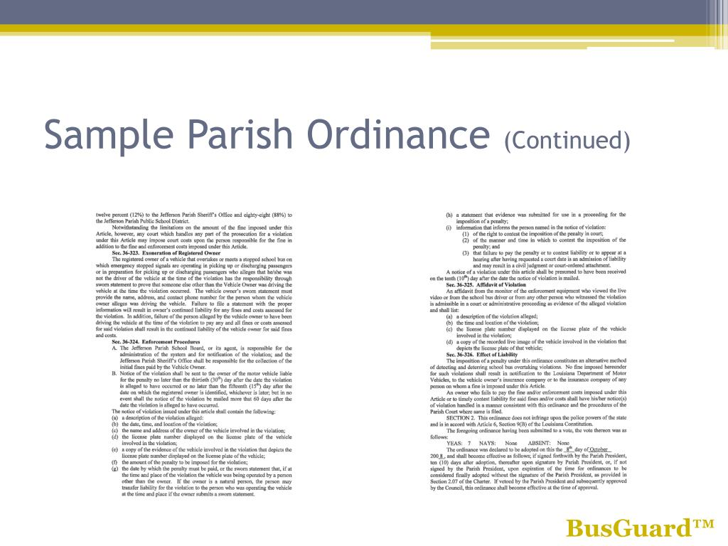 Sample Parish Ordinance