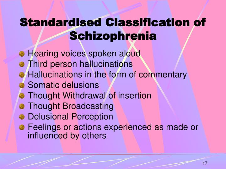 Standardised Classification of Schizophrenia