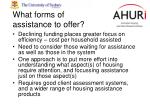 what forms of assistance to offer