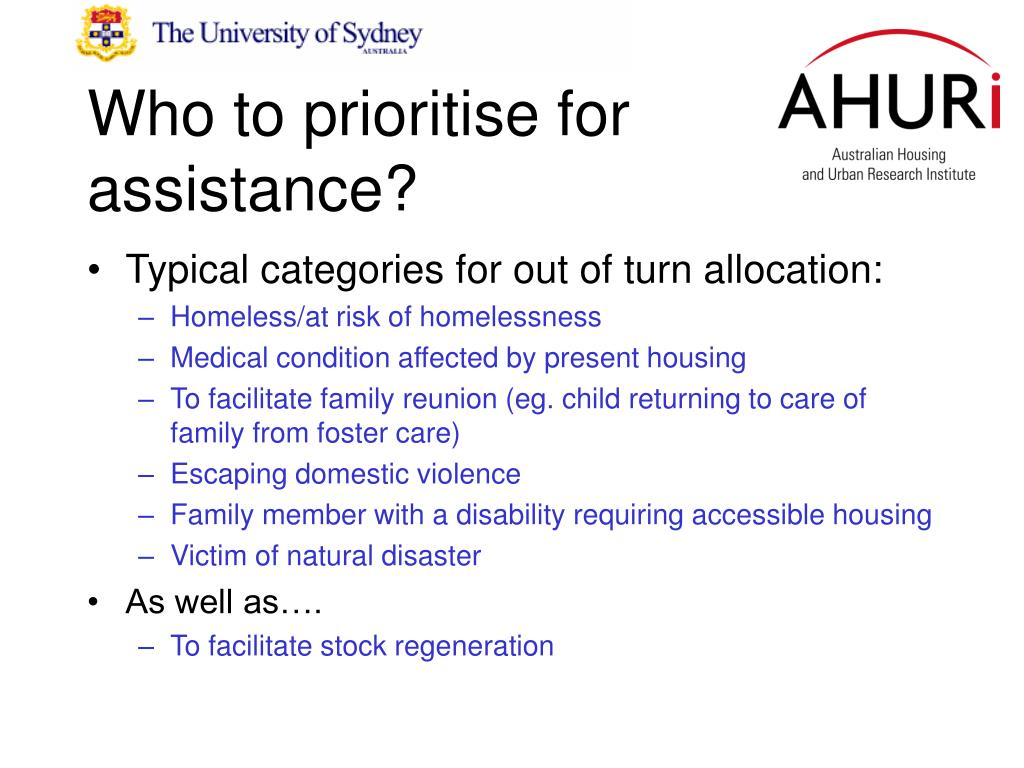 Who to prioritise for assistance?