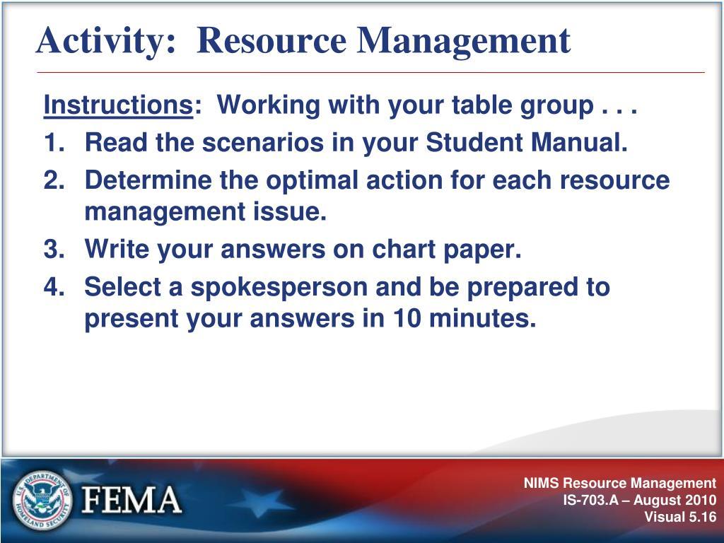 Activity:  Resource Management