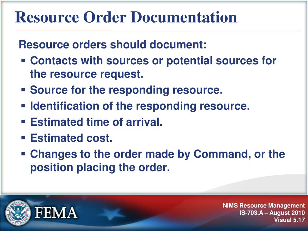 Resource Order Documentation